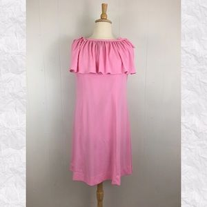 Vintage Pleated Ruffle Neckline Shift Dress